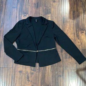 Black Blazer with Zipper Detail